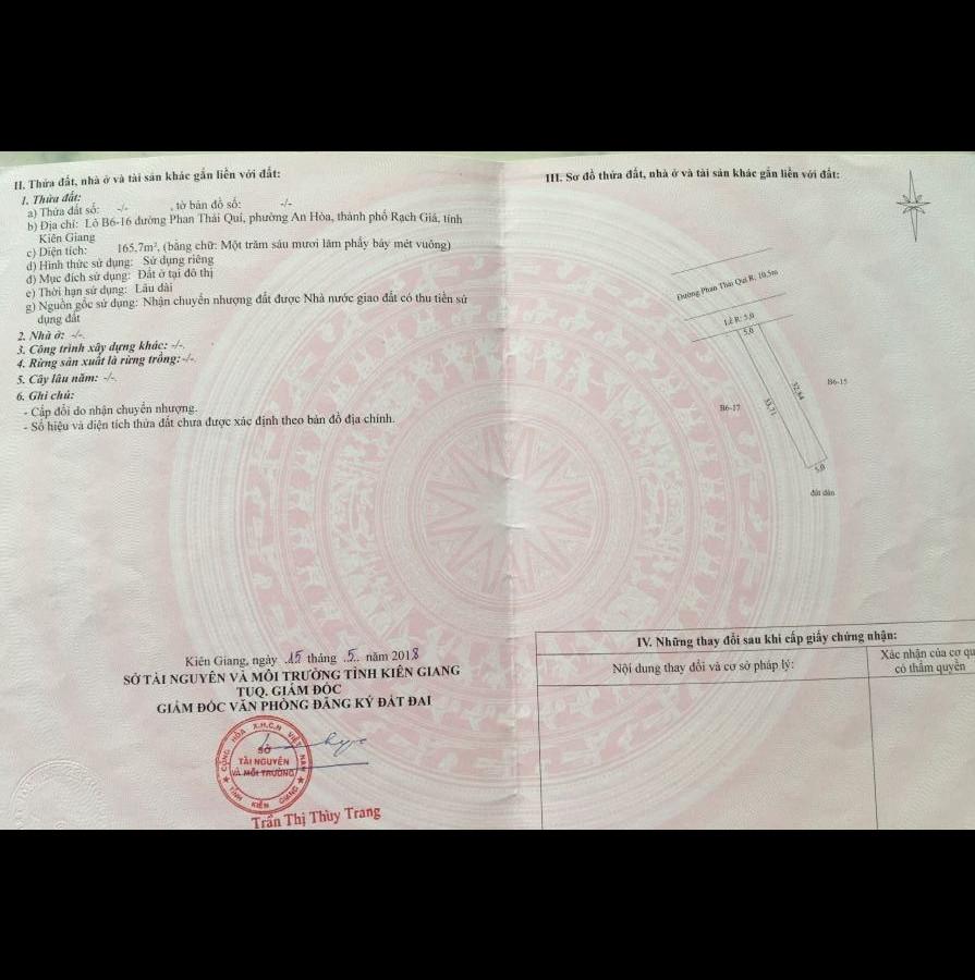 Bán đất thổ cư đường Phan Thái Quí, phường An Hòa, TP. Rạch Giá tỉnh Kiên Giang